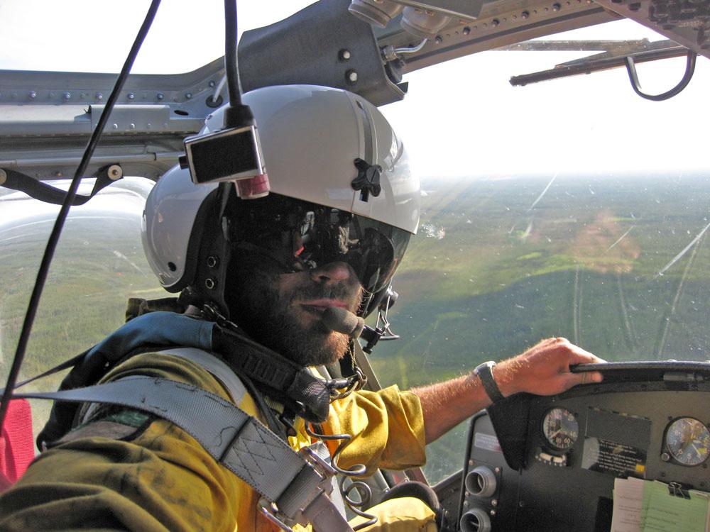 Mathieu Bourbonnais inside a helicopter
