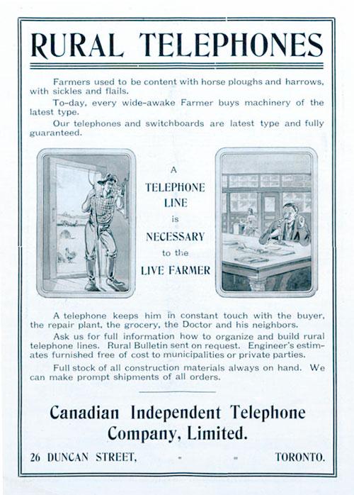 A 1909 rural telephone ad