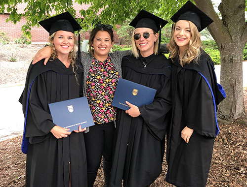 St. Pierre's clinical psychology cohort at their Master's graduation (left to right) Jill Robinson, Stefanie Ciszewski, Michelle St. Pierre and Kaylee Meisner
