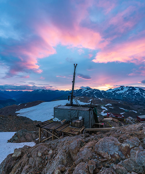 A diamond drill rig assembled by helicopter sits on a wooden drill pad at 6,000feet elevation in northwestern British Columbia.